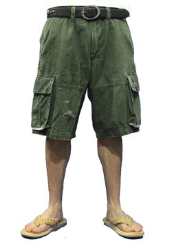 WASHED MILITARY SHORT CARGO PANTS