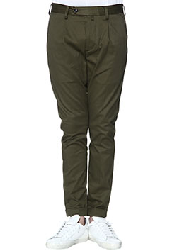 STRETCH COTTON PEACH 1TUCK TAPERED CHINO PANTS