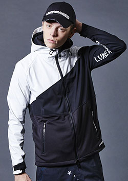 LUXSPO DIAGONAL WHITE COMBI ZIP UP BLOUSON