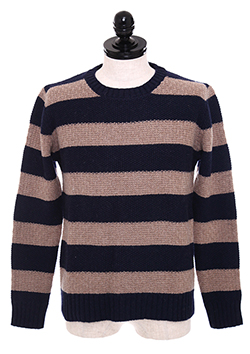 BORDER CREW NECK SWEATER