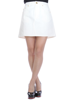 JOYRICH WHITE DENIM BIG POCKET SKIRT