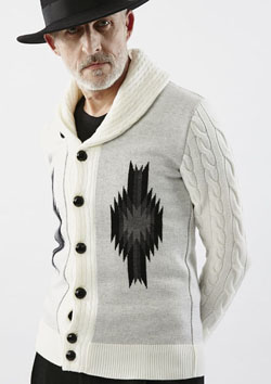 AKM CASHWOOL CABLE SHAWL CARDIGAN (CHIMAYO)