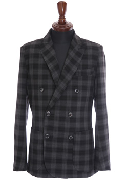 1PIU1UGUALE3 BLACK WATCH RIB JACKET