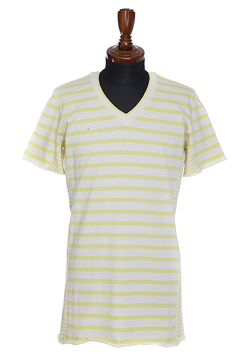 3D V-NECK S/S BORDERX BORDER NATURAL/YELLOW
