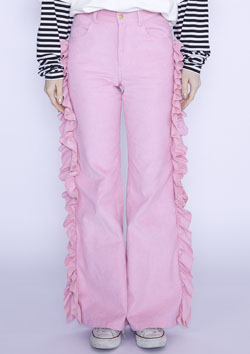 FRILL CORDUROY STRETCH PANTS